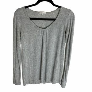 Vince Grey Long Sleeve Ruched V Neck Long Sleeve S